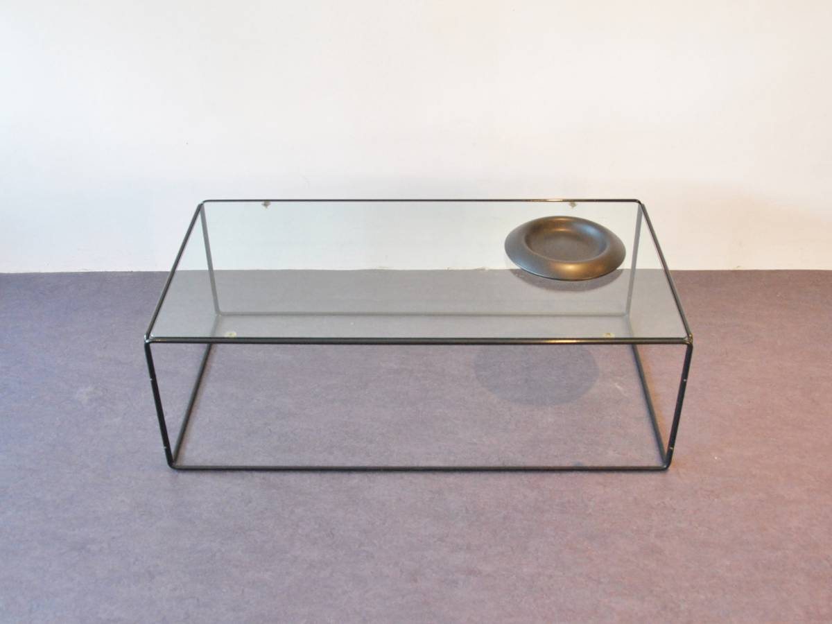 Tubular Steel Coffee Table With A Glass Top Novac Vintage