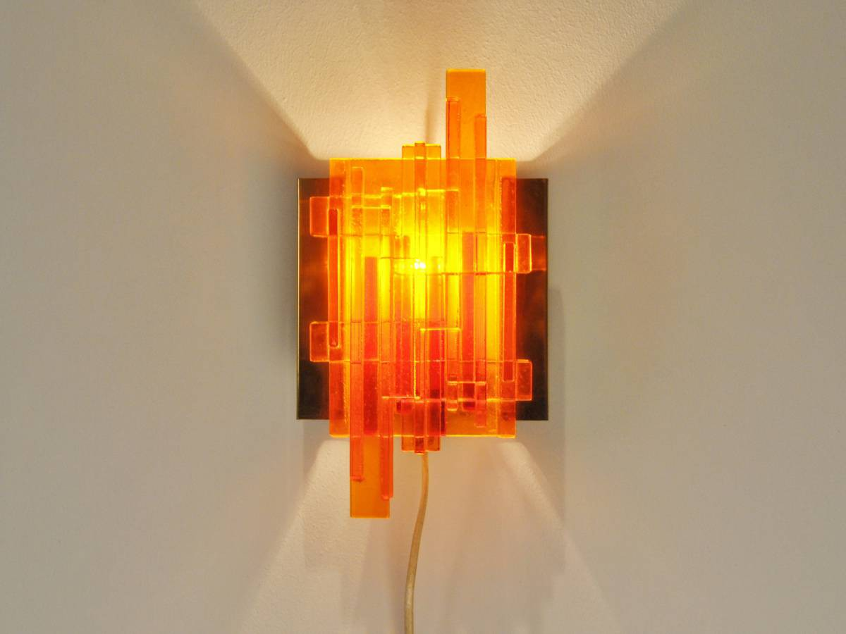 Claus bolby wall lamp by lyskjaer belysning in orange   novac vintage