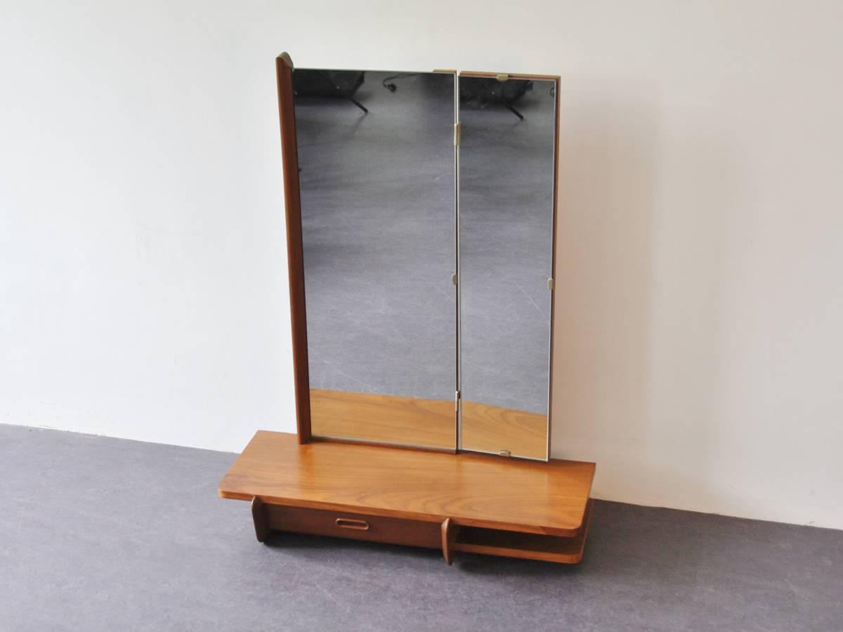 Dutch wall mounted dressing table in teak novac vintage
